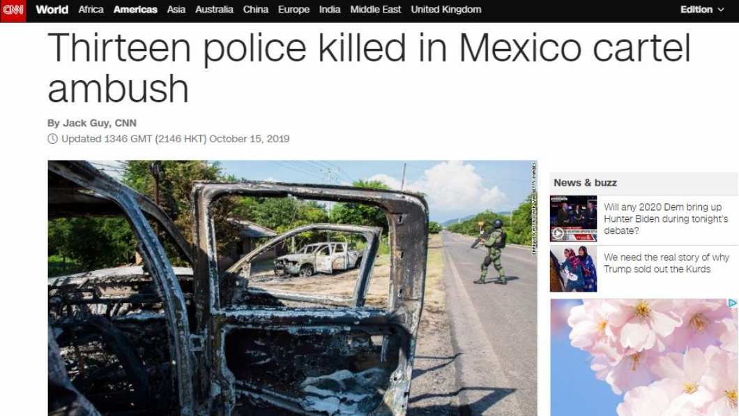 圖/翻攝自CNN官網 慟!販毒集團埋伏襲警 至少13死20傷