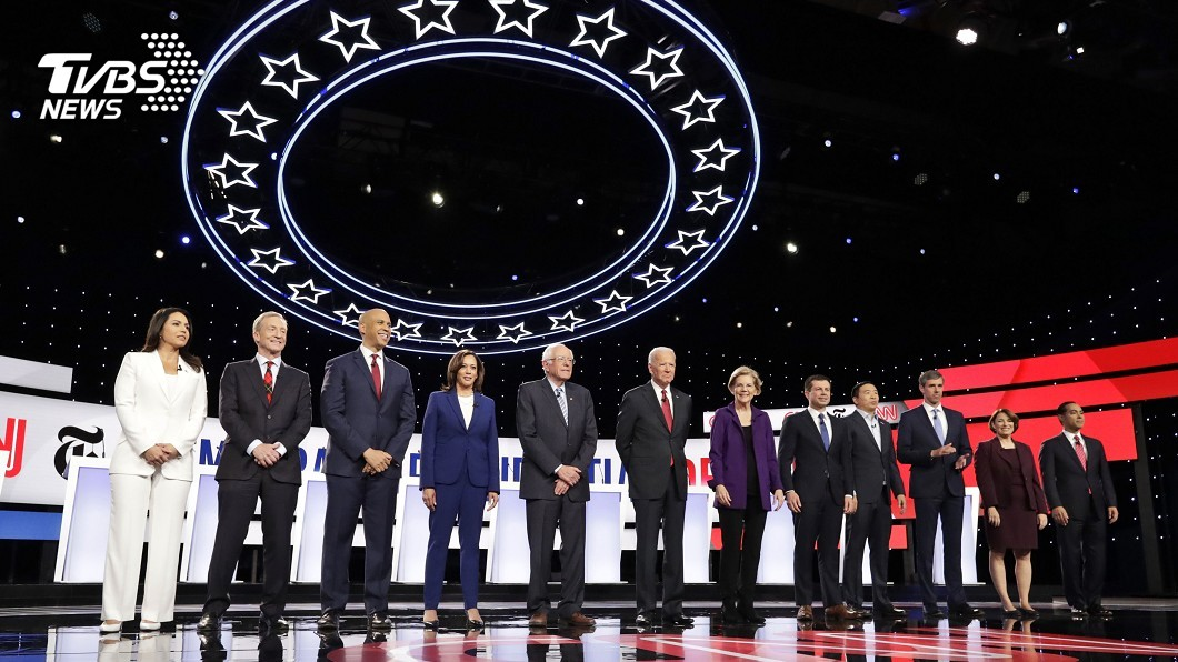 圖/TVBS 民主黨12名總統參選人激辯 川普慘遭砲轟