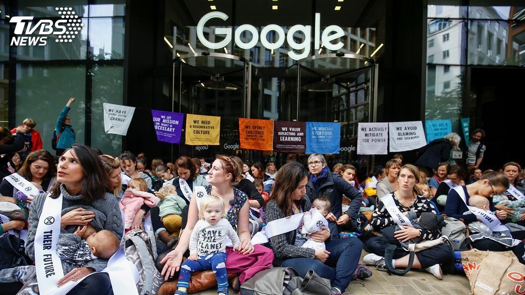 圖/達志影像路透社 Google抗氣候變遷兩種嘴臉 倫敦媽媽們上街怒吼