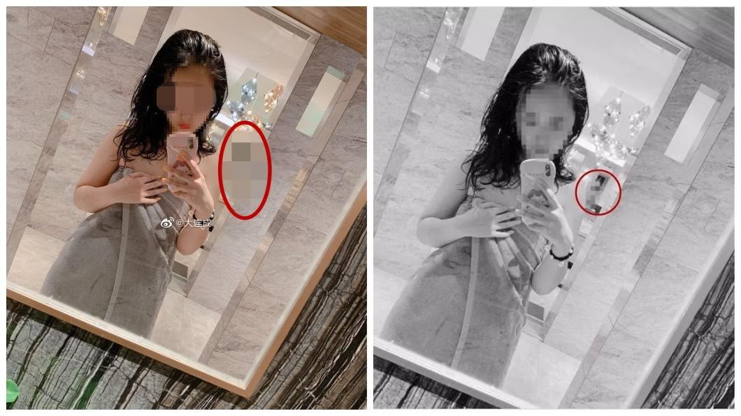 1名年輕妹子在浴室鏡子前自拍,沒想到後方2位妹子無辜被入鏡。(圖/翻攝自陸網) 澡堂自拍害2裸女入鏡走光 妹子拒撤辯:還好不清楚