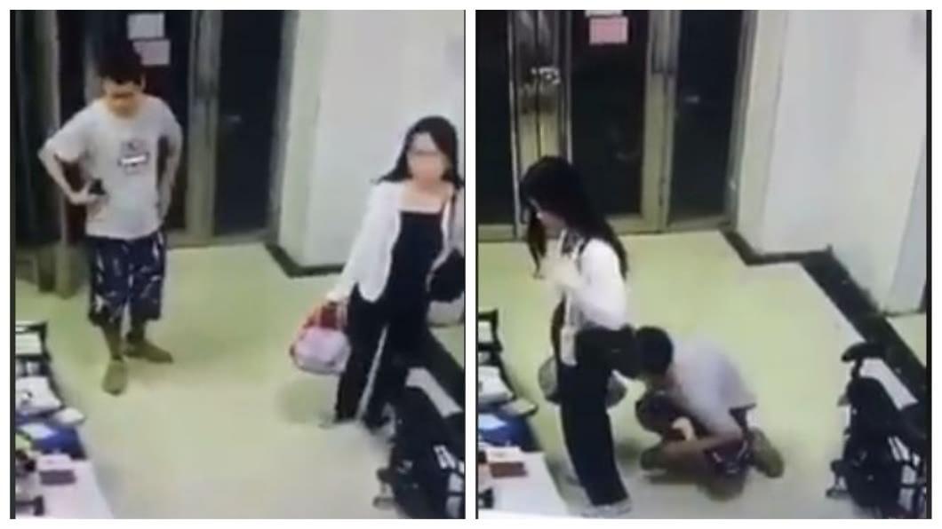 1名男子尾隨女子進入大廳後,趁對方不注意3度到她身後蹲下聞下體。(圖/翻攝自臉書) 變態男尾隨正妹進大樓 趁她轉身10秒3次聞私處