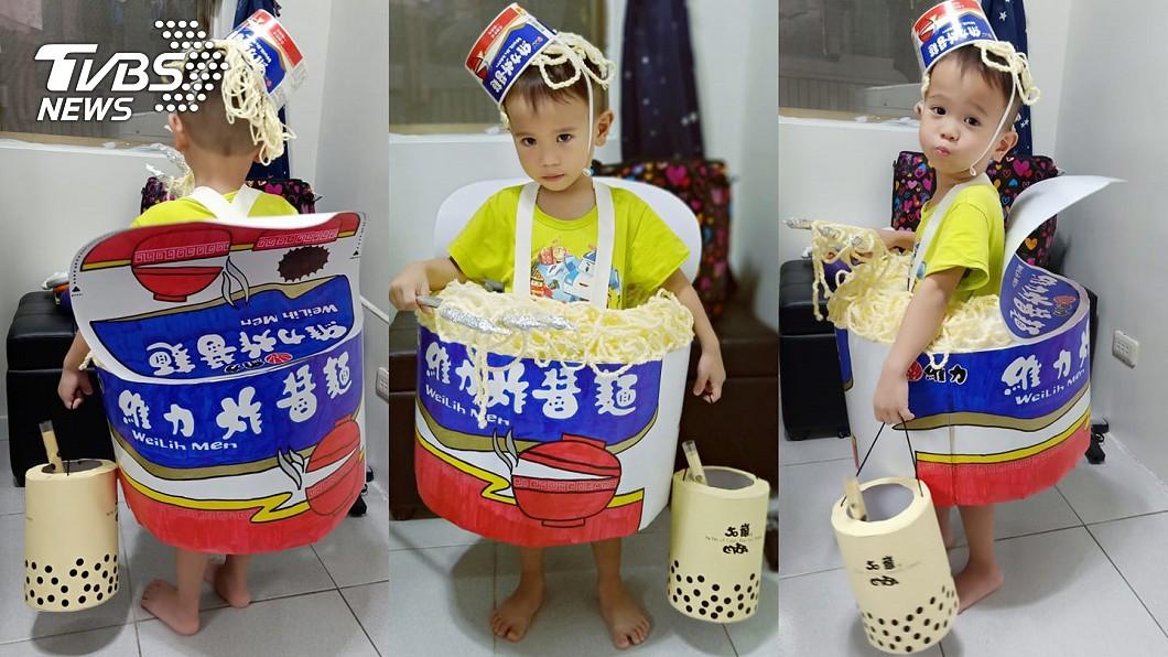 高雄1位媽媽為孩子製作的「巨型維力炸醬麵」萬聖節造型。圖/高雄網友授權提供
