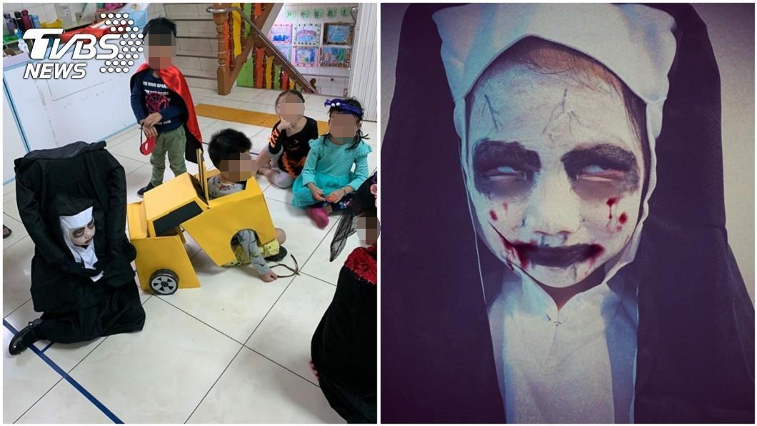 宜蘭羅媽媽幫4歲女兒晴晴做的萬聖節「鬼修女」裝扮。圖/羅媽媽授權提供