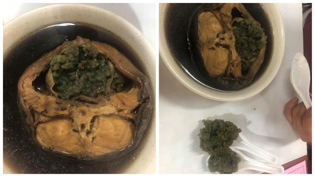 1名女網友點了藥燉土虱來吃,結果驚見綠色魚卵,讓她直呼噁心不敢再吃了。(圖/翻攝自爆廢公社二館) 藥燉土虱驚見「超量綠卵」她嫌噁 老饕:這是極品