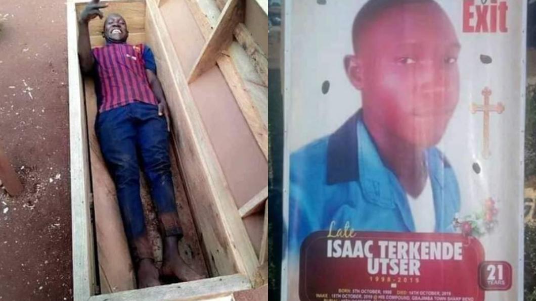 艾薩克·特肯德躺在棺材開心比YA。圖/翻攝自Prince David Twitter