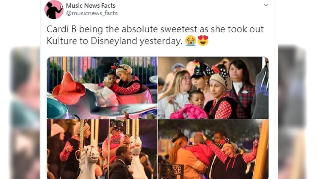 圖/翻攝自推特 Music News Facts 饒舌天后Cardi B素顏逛迪士尼 網:她誰