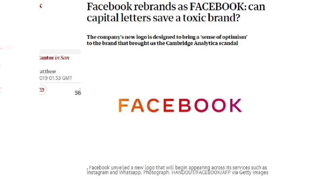 圖/翻攝自The Guardian 臉書公司換新商標 字體色彩象徵家族成員