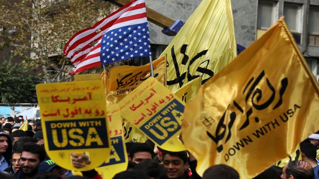 圖/達志影像美聯社 伊朗人質危機40年 伊朗民眾圍舊使館示威