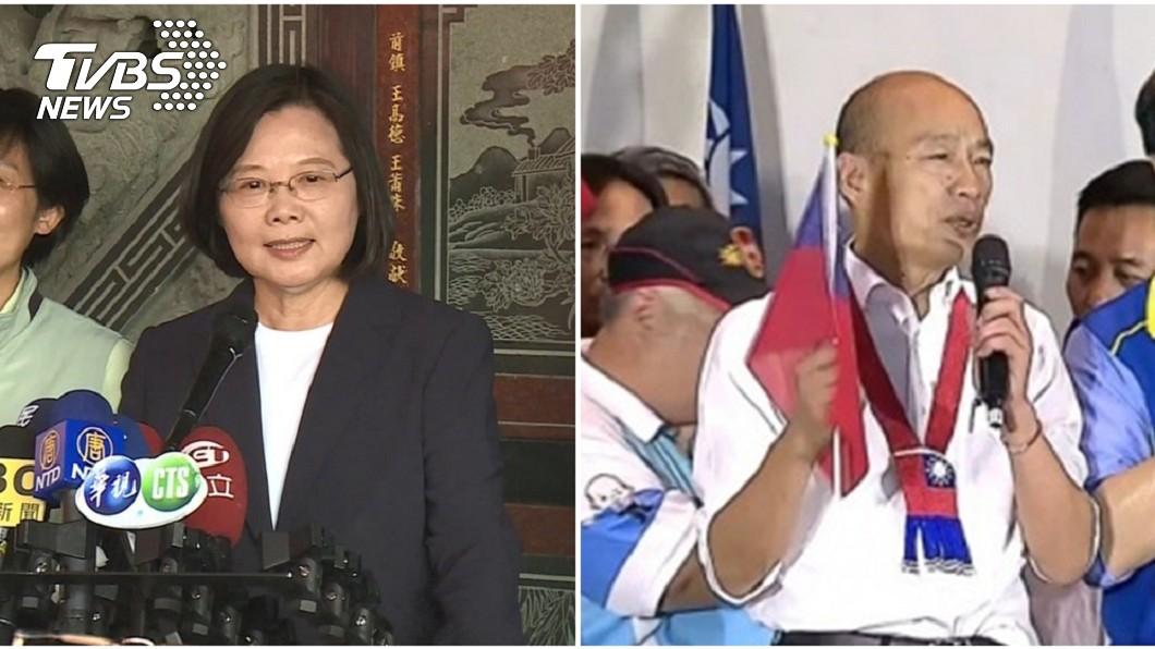 總統蔡英文(左)、國民黨總統參選人韓國瑜(右)。圖/TVBS資料照   韓國瑜購屋遭諷「墅」民 他酸:蔡英文是「地主總統」?