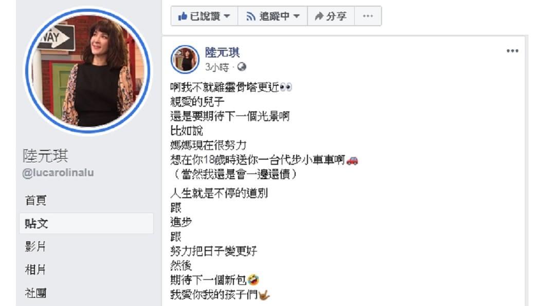 圖/翻攝自陸元琪臉書 袁惟仁兒驚吐「離你火化越來越近」 陸元琪真情喊話