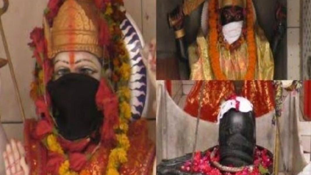 圖/翻攝自Digbijay Panda推特 怕神明吸到髒空氣 印度信徒幫神像戴口罩