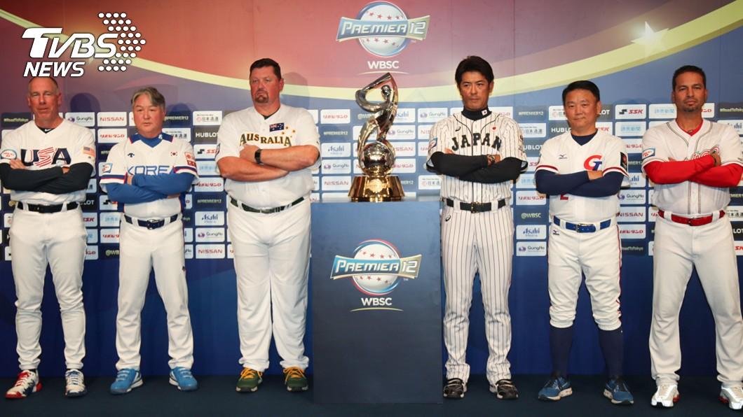 世界12強棒球賽複賽11日在日本開打,10日舉行開賽記者會,美國隊總教練布羅西亞斯(Scott Brosius)(左起)、韓國隊總教練金卿文、澳洲隊總教練尼爾森(David Nilsson)、日本隊總 世界12強棒球複賽 6隊總教練齊聚盼爭佳績