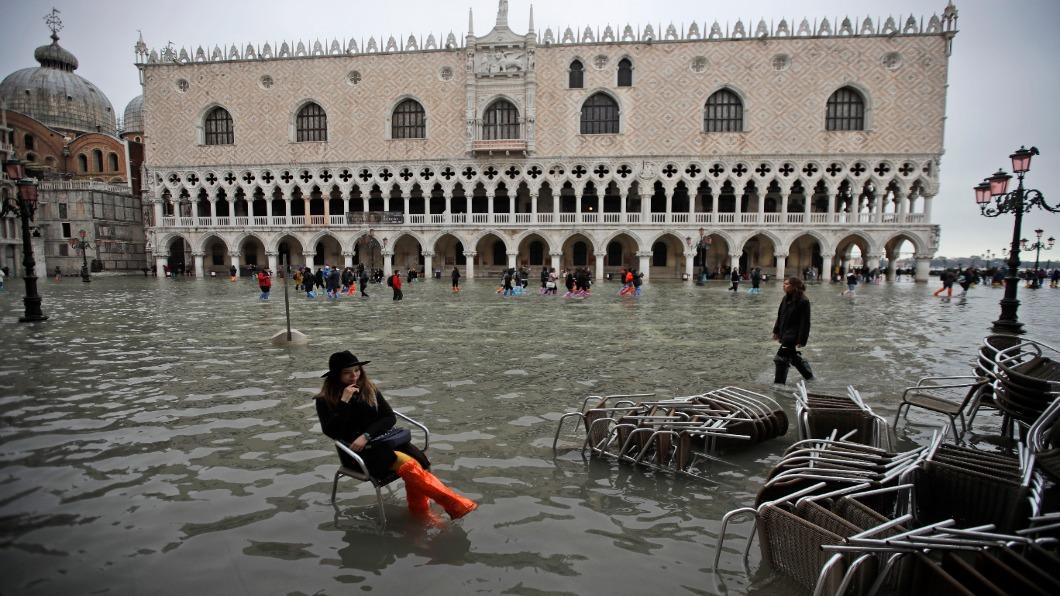 圖/達志影像美聯社 水淹威尼斯!大雨遇漲潮 水都緊急狀態