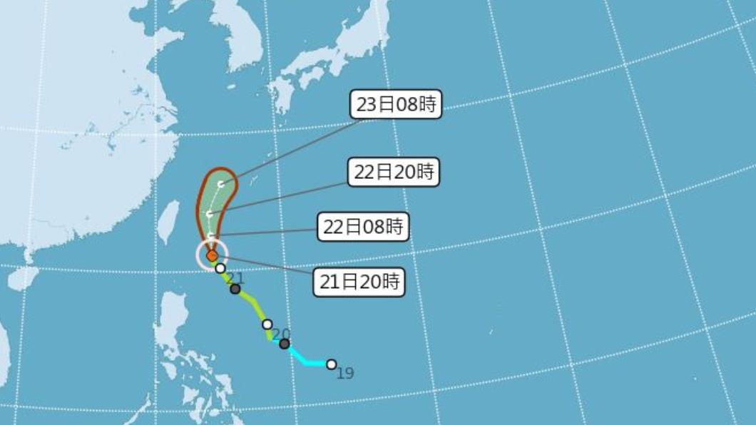 圖/翻攝自中央氣象局官網 颱風環流影響!明東北部現局部大雨