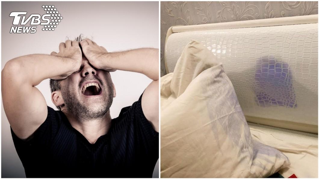 圖/TVBS、翻攝自爆廢公社 新衣沒過水...染花旅館「床組全毀」 他崩潰:賠大了