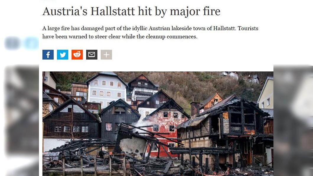 圖/翻攝自DW News 奧地利最美小鎮深夜失火 多間民宅遭嚴重燒毀