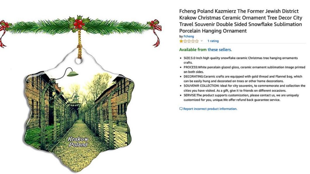 圖/翻攝自Auschwitz Memorial推特 亞馬遜耶誕飾品印集中營圖像惹議 波蘭批不恰當