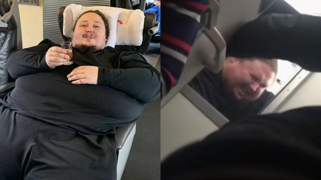翻攝/Luka Zatravkin 臉書、YouTube 飛機上如廁被吸住 200kg的他呼救:不想死在馬桶上