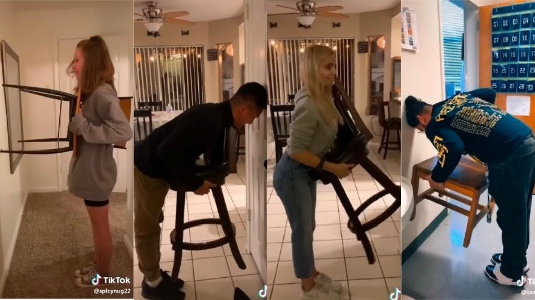 網友紛紛加入「椅子挑戰」。圖/翻攝自Hey yo tiktok check YouTube 超夯椅子挑戰!瘋傳男人「再壯都不舉」