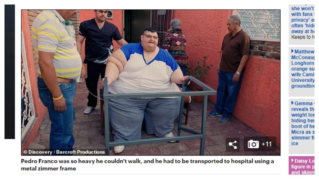 佛明哥送醫時無法自己走路,要用全框的拐杖和輪椅支撐(圖/翻攝自Daily Mail) 太肥險死!590公斤世界最胖男3年暴減330公斤
