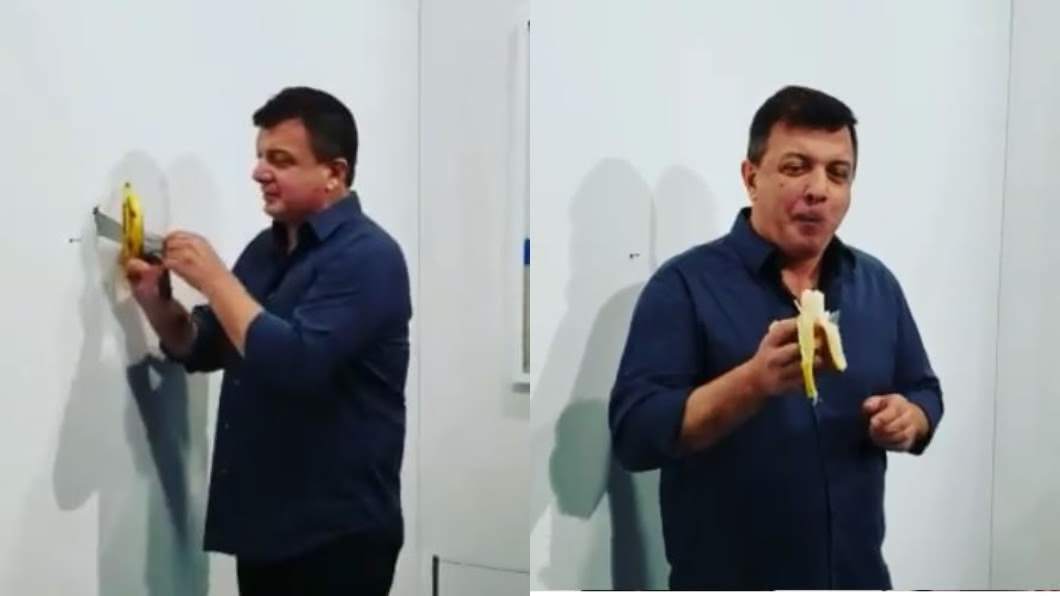 翻攝IG 傻眼!369萬藝術品「膠帶黏香蕉」 他當眾剝皮吃掉