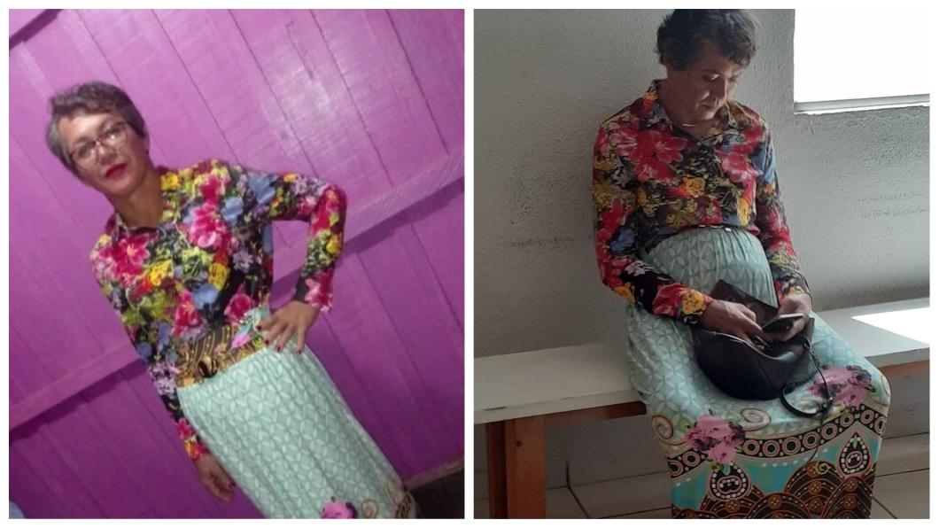 巴西1名男子假冒母親的身分男扮女裝,前去監理所考汽車駕照。(圖/翻攝自推特) 母3次駕照沒過 「孝順」兒頂大濃妝應考騙過監理所