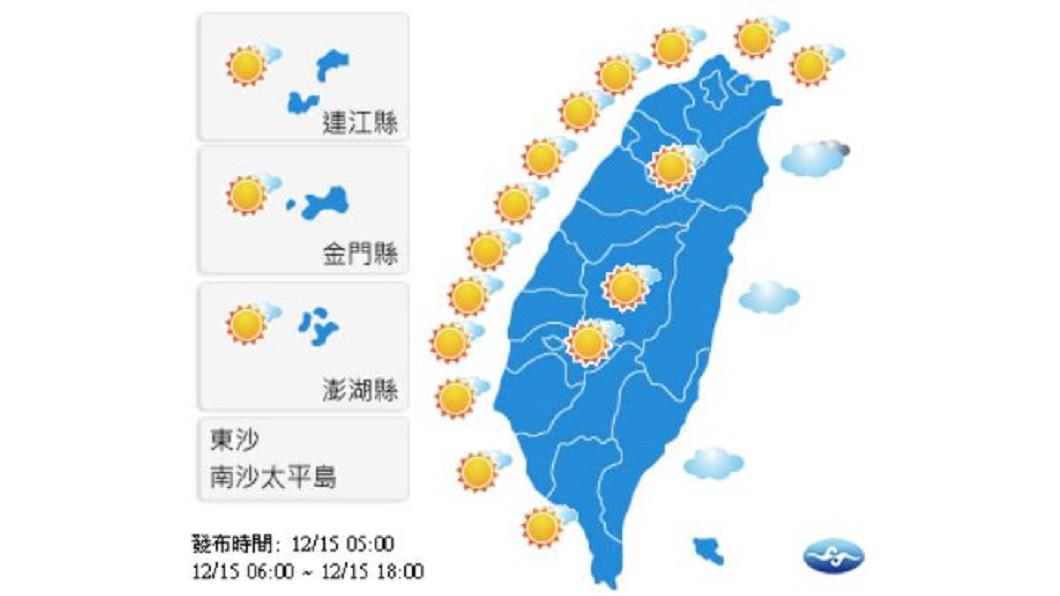 圖/中央氣象局 各地風和日麗!東北部偶雨 西半部溫差大