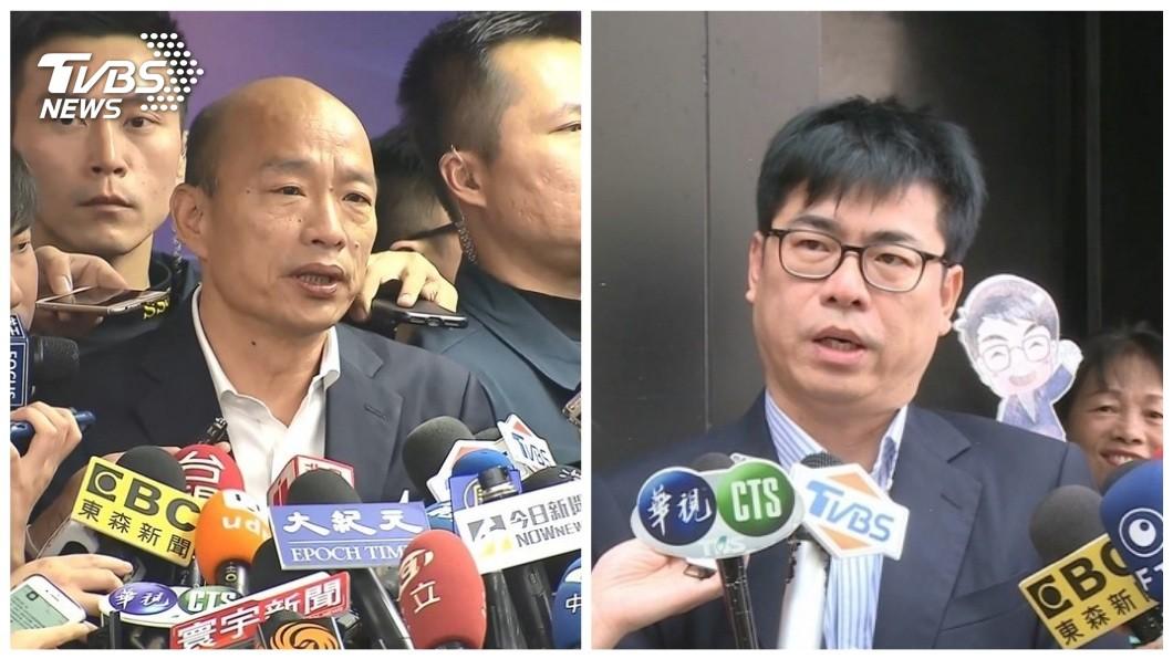 韓國瑜批評陳其邁先前選舉所開的支票都沒兌現,還說高雄人都已經看清楚了。(合成圖/TVBS) 諷陳其邁選前支票變空頭 韓國瑜嗆:高雄人看清楚了