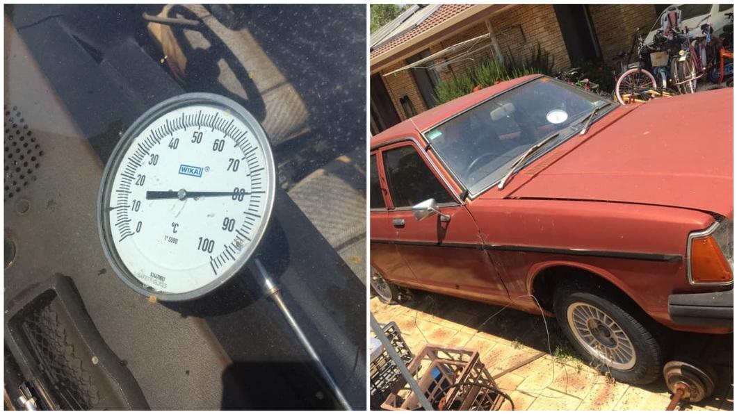 澳洲正值炎炎夏日,在烈日曝曬下,日前有民眾發現車內的溫度竟然高達81度。(圖/翻攝自臉書) 車內溫度81度…他把豬肉放10小時 烤熟大讚:超美味