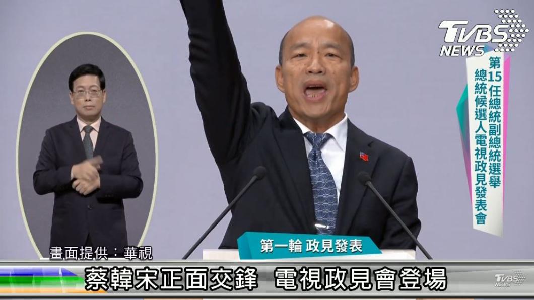 國民黨總統候選人韓國瑜。圖/華視提供 肺快爆炸、全民大悶鍋 韓國瑜政見會10大金句出爐