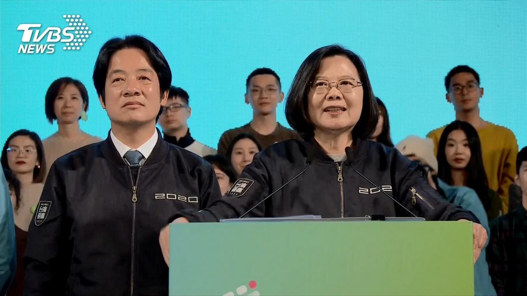 蔡英文、賴清德贏得大選後向支持者發表演說。(圖/TVBS) 英德配大贏賴清德卻笑不出來 名嘴曝背後原因