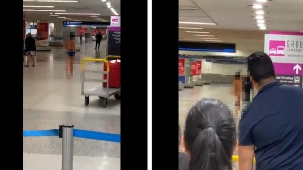 圖/翻攝自推特 女機場內邊走邊脫衣 「一絲不掛」旅客全傻眼