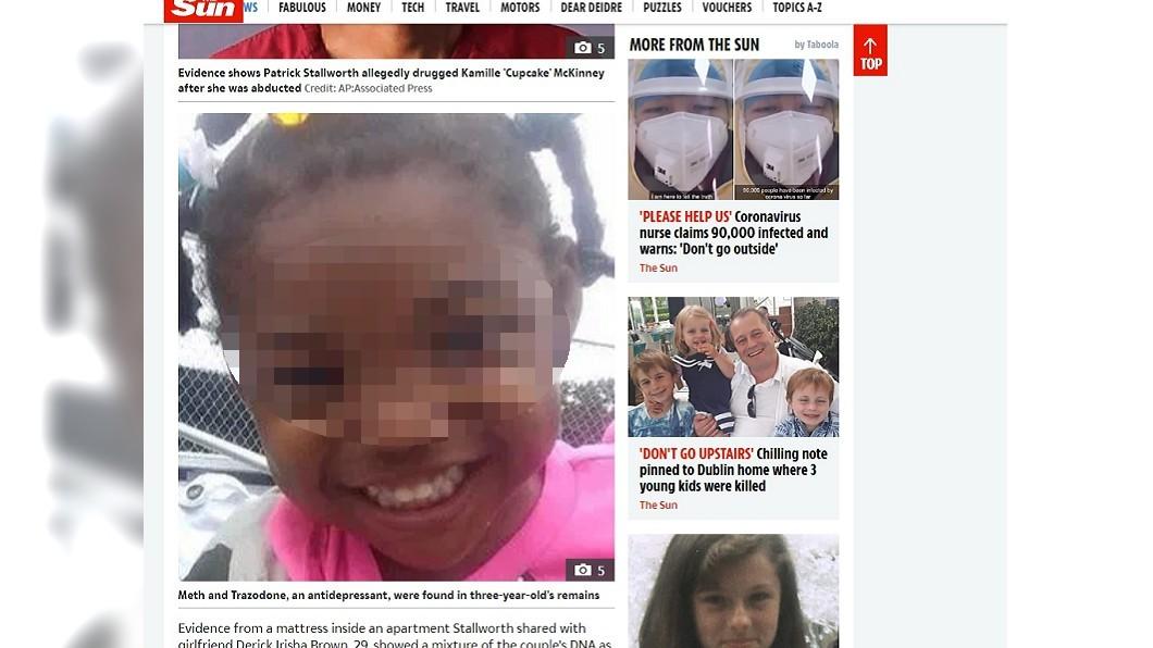 3歲女童麥金妮在生日派對期間遭綁架殺害。(圖/翻攝自英國太陽報) 3歲女童生日趴失蹤!10天後垃圾箱挖出遺體 家人崩潰