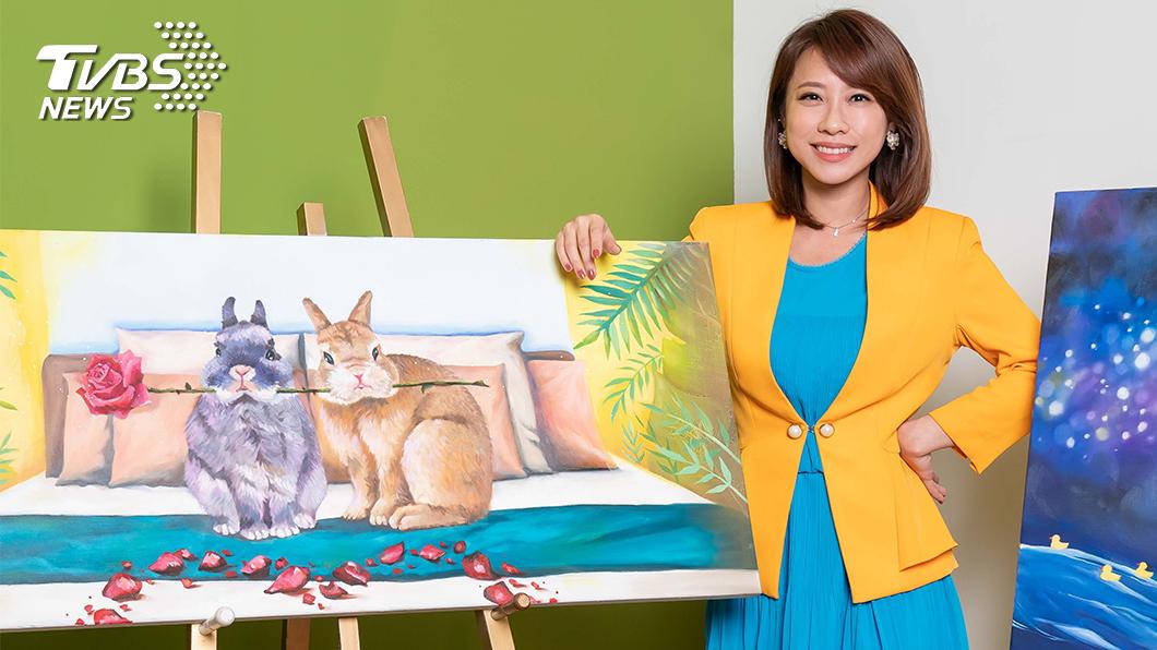 TVBS主播詹舒涵擅長油畫,作品栩栩如生,一度還有同事前來詢價。(圖/TVBS) 被主播耽誤的畫家 TVBS主播詹舒涵超有才