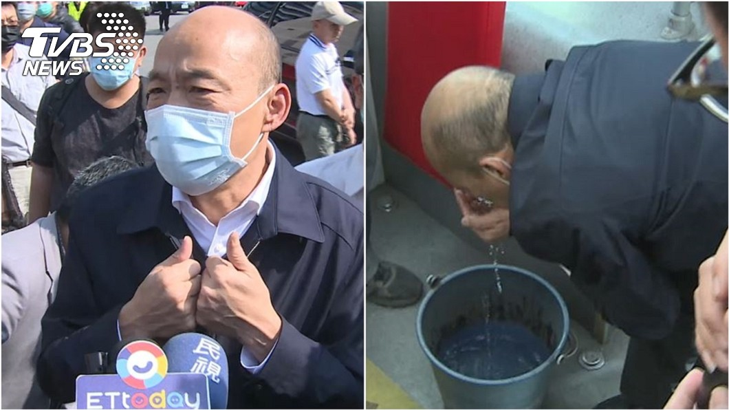 高雄市長韓國瑜視察公車防疫工作。(圖/TVBS) 遭疑視察防疫為何「捧聞消毒水」? 韓國瑜回應了