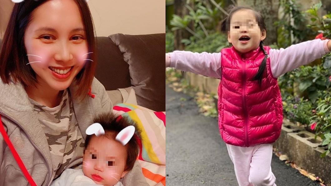 余苑綺曬出一雙寶貝兒女的萌照表示「媽媽好愛你們」。(圖/翻攝自余苑綺臉書) 「媽媽好愛你們…」余苑綺今動刀不捨兒女:求順利
