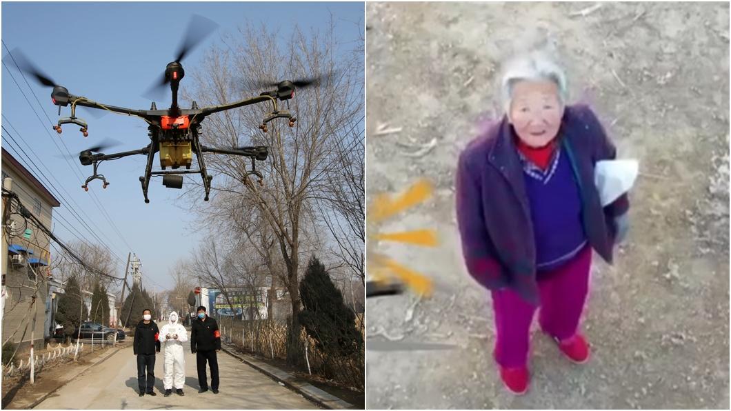 大陸各地當局派無人機協助防疫工作,左圖進行消毒,右圖抓沒戴口罩。(合成圖/達志影像路透社、翻攝自封面視頻) 老奶奶別看了 陸派無人機揪沒戴口罩者!做此事也被抓