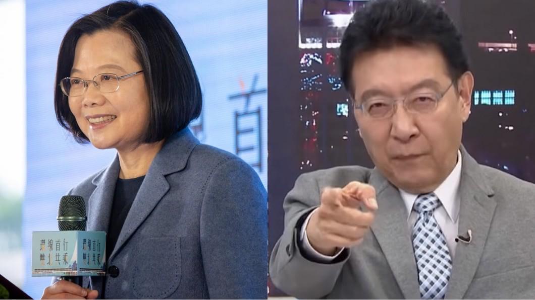 趙少康(圖右)因為說蔡英文政治運氣好連日遭到批評。(圖/TVBS《少康戰情室》、蔡英文臉書) 說小英「運氣好」被罵翻!趙少康爆氣嗆:出來跟我辯論