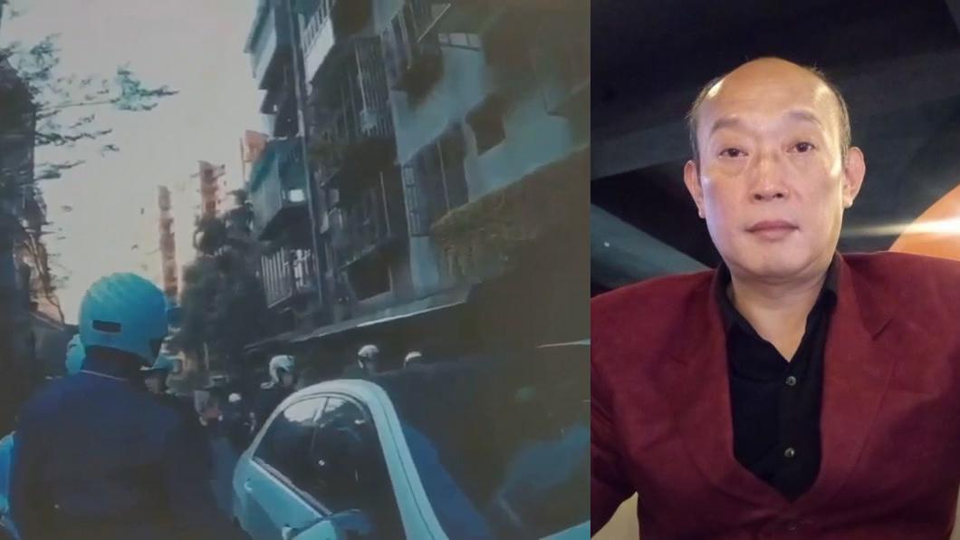 郭桂彬(圖右)的兒子幫友人助陣嗆聲,過程中「掉槍」。(圖/TVBS、翻攝郭桂彬臉書) 兒帶槍K鄰居 《海波浪》主唱生氣:養不教父之過