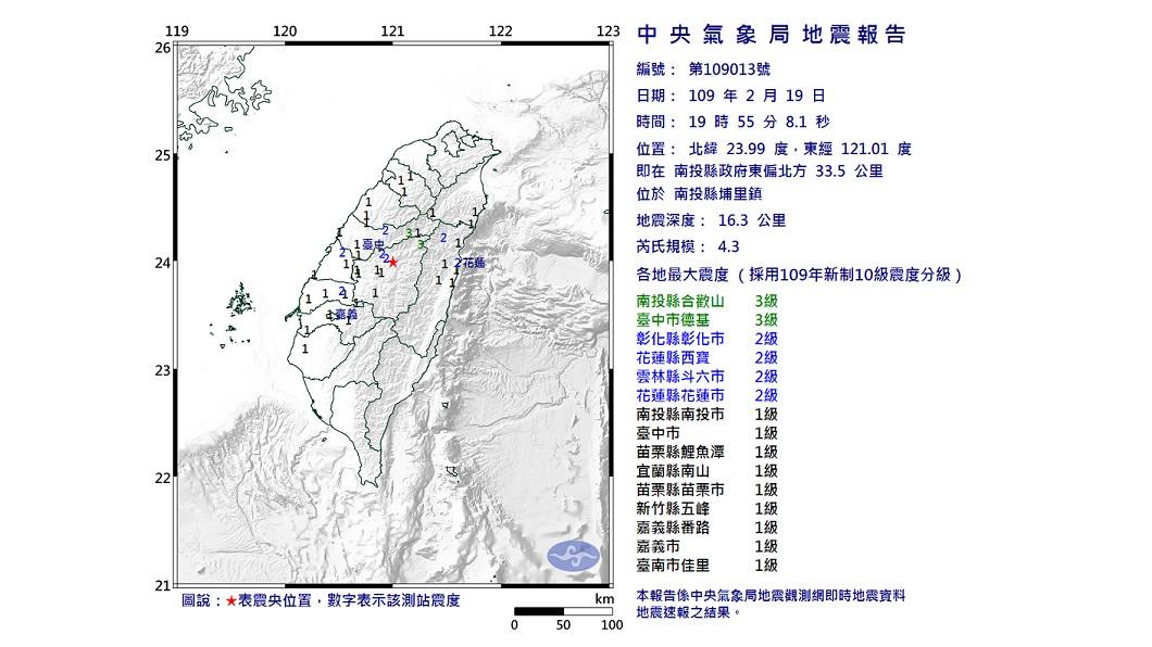 圖/中央氣象局 快訊/南投地震芮氏規模4.3 中南部搖晃有感
