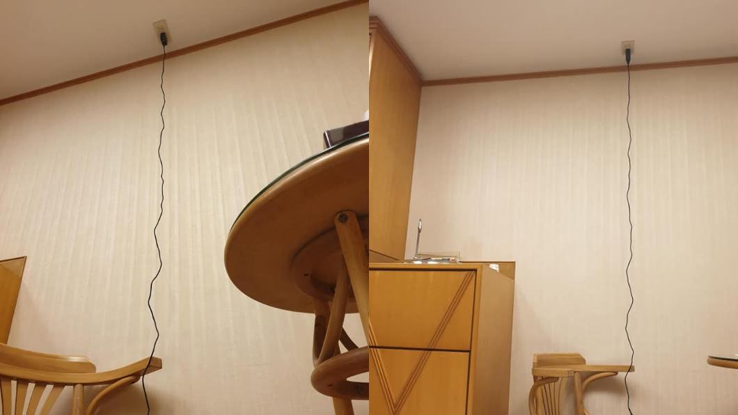 插座竟然鑲在天花板上。(圖/翻攝自爆廢公社) 「插座鑲在天花板上」他傻眼 網揭真正用途:別亂插