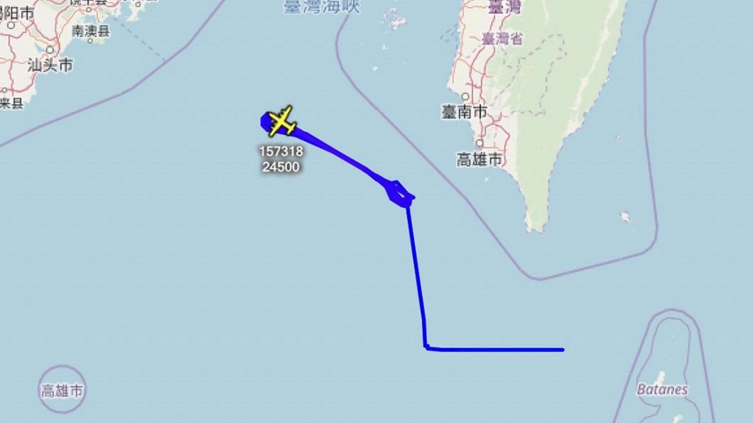 圖/翻攝自Aircraft Spots Twitter 反制共軍擾台 美軍電偵機現蹤台灣西南海域