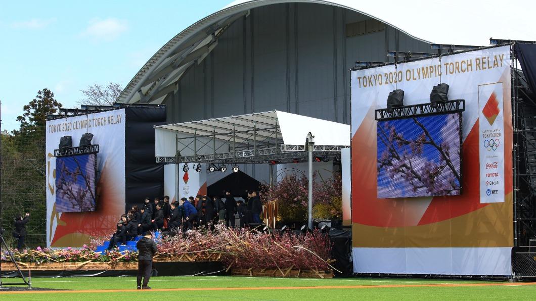 日本福島縣J Village撤聖火出發典禮舞台。圖/達志影像美聯社 首開先例!東京奧運確定延至明年辦