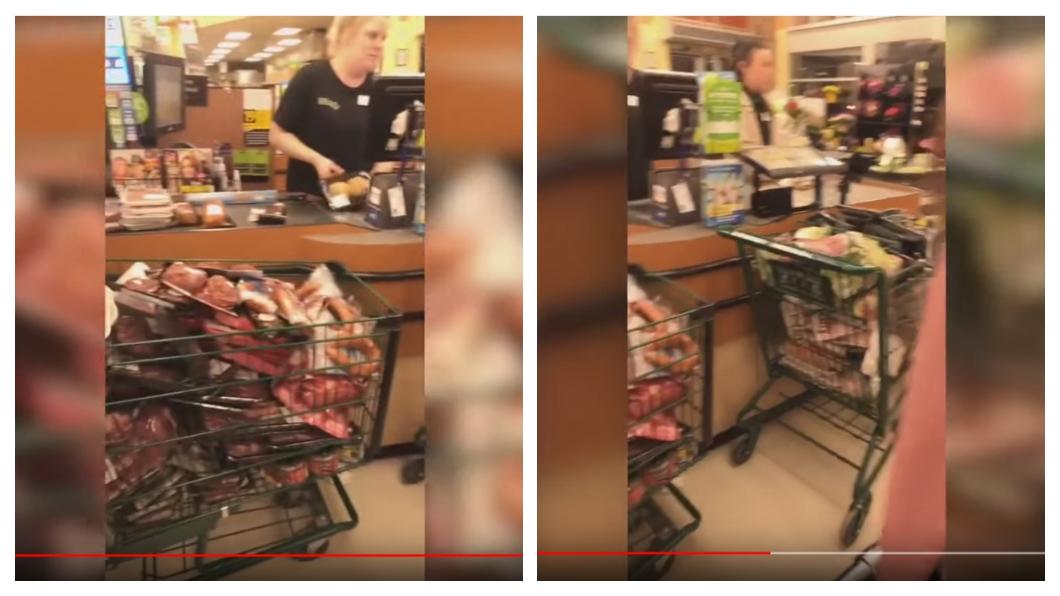 情侶狂掃超市食物引起公憤 (圖/翻攝自YouTube Castanet News) 情侶狂掃肉品嗆「讓其他人買不到」 遭肉搜秒道歉
