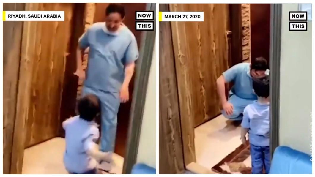 心酸!護理師爸下班回家兒飛撲討抱 他忍痛拒絕蹲下痛哭