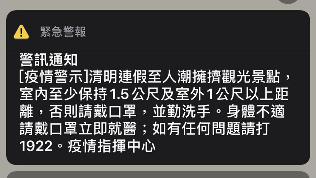 圖/中央社 指揮中心發國家級警報 各大景點備戰防疫!