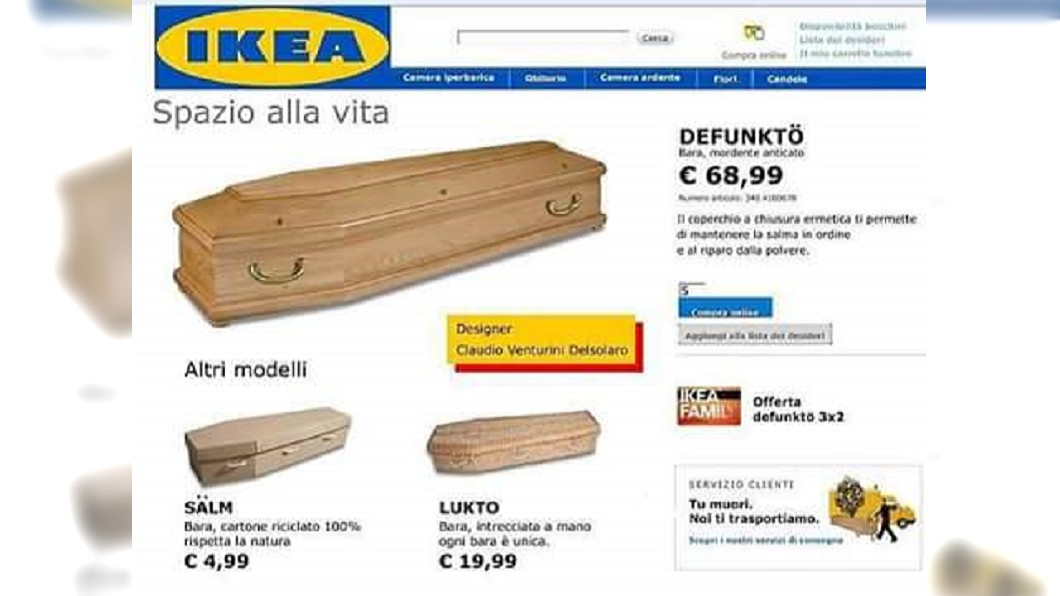 近日網路瘋傳IKEA推出DIY自組棺材。(圖/翻攝自Robert Santos臉書) 網傳「DIY自組棺材」熱銷 台IKEA澄清:惡搞訊息