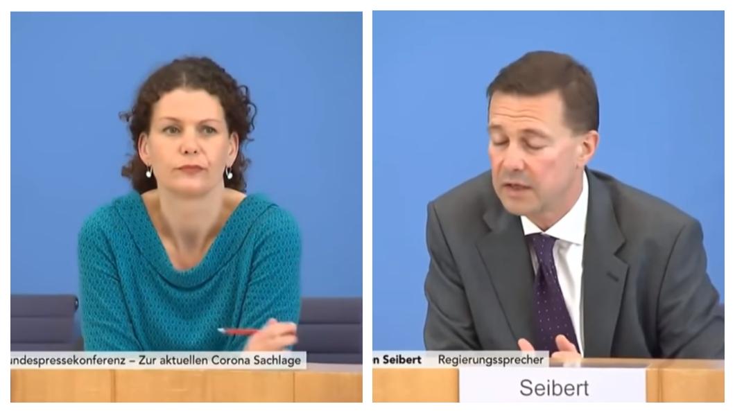 德國外交部發言人Maria Adebahr和政府發言人Steffen Seibert (圖/翻攝自YouTube  ascendence) 德收萬片口罩絕口不提台灣 僅稱感謝「其他國家」