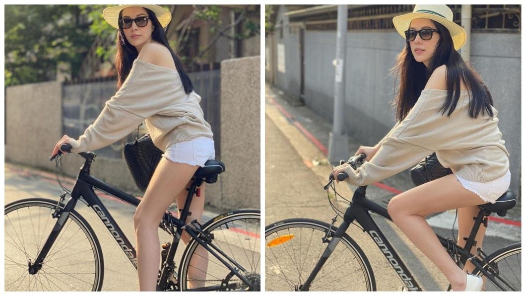 35歲的混血女星許瑋甯,日前在IG分享自己一系列騎乘單車的美照。(圖/翻攝自IG) 巷口見熱褲長腿單車美少女現蹤 一看竟是混血女神網驚呆