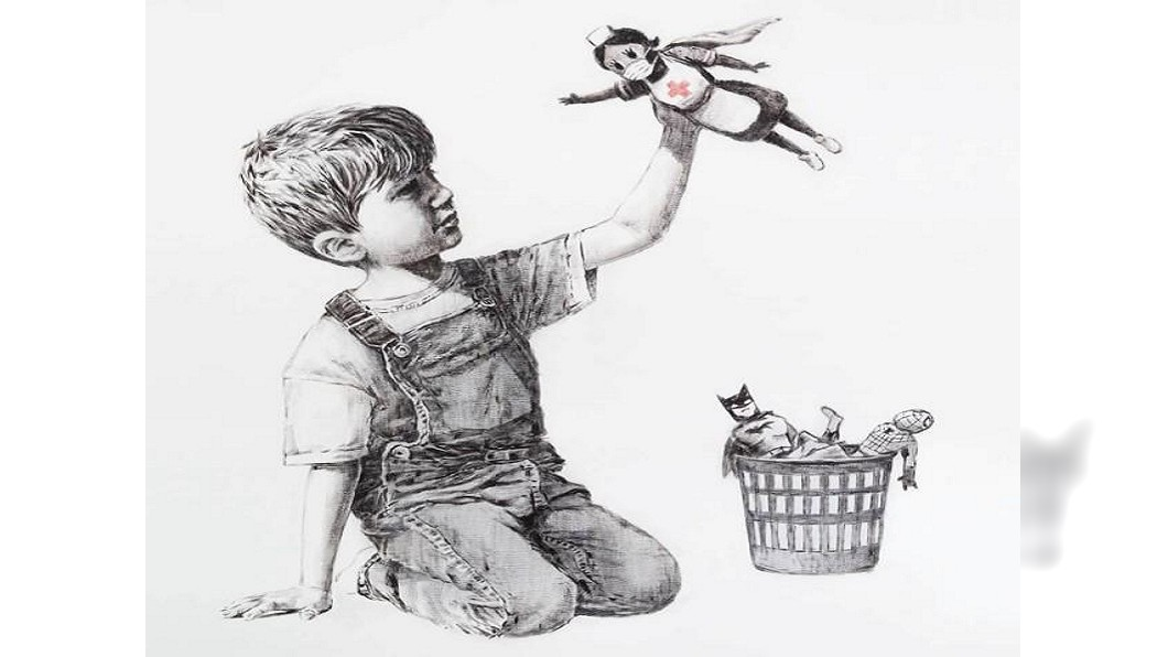 圖/翻攝自Banksy Instagram 蜘蛛人變垃圾護理師才是寶 班克西新作致敬醫護